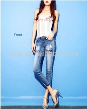 2014 hot sale summer wholesale competitive price short women jeans original sample blue rip ladies type