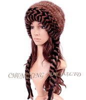 CX-C-140B Hand Knitted Mink Fur Fashion Winter Hat For Yong Girls