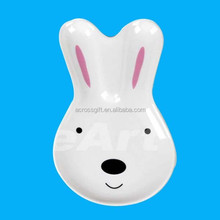 White Cute Ceramic Rabbit Plate