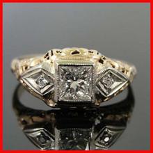 Vintage 3 carat gold zircon paved women wedding band ring engagement ring gift ring