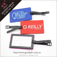 Custom wholesale bulk plastic luggage tag / soft pvc luggage tag
