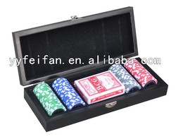 100pcs poker chip set,chips can be customed,wooden cases