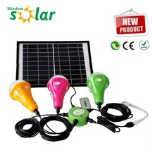 2015 New Wisdomsolar CE bright solar power system with LED lights and USB charger home solar light;solar light