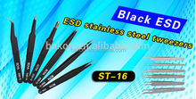 ESD anti-static black plastic tweezers