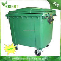 660L/1100L plastic mobile garbage bin waste container with big cover