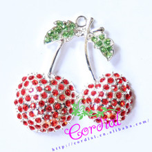 Fashion Jewelry Alloy White Rhinestone Pendants Red Cherry Pendant For Baby Jewelry