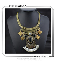 Luxury gold multilayered choker big crystal pearl egyptian style necklace
