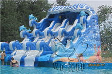 Commercial Inflatable water park, used swimming pool slide, children slide for sale