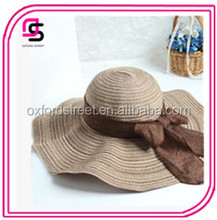 stylish with bowknot decorated round straw hats with wide brim for ladies
