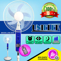 16/18/20 inch 12 volt dc stand fan with remote control 12V solar rechargeable fan battery