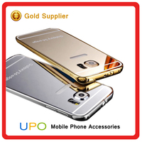 [UPO] Aluminum Back Mirror Glass Moving Glitter Cell Phone Case For Samsung Galaxy s6 edge