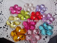 Colorful Wholesales AAA Quality Chunky Transparent Plastic Acrylic Flower Beads for Chunky Necklace Jewelry Making