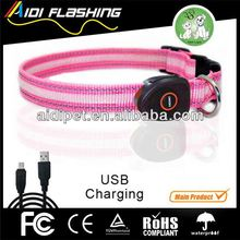 USB&solar rechargeable LED flashing fancy dog collars small dogs