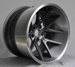 Brush Outer,Textured Dark Gunmetal Center 3 Piece Forged Wheel