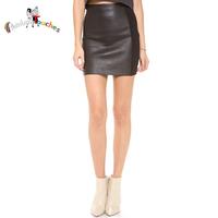 2014 Costume Side Splicing Black Leather Sex Short Tight Skirt