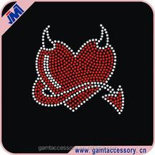 Evil Heart iron on hotfix rhinestone bling designs