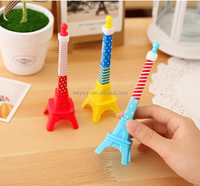Creative Cute Eiffel Tower Shape Black Ink Gel Pen 0.5MM paris multi-color Construction ball-point pen