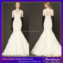 2014 New Model Elegant Wedding Gowns Sweep Train Mermaid Champagne Colored Wide Shoulder Straps Lace Open Back Wedding Dress