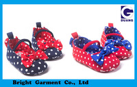 Lovely Dot Design Newborn Girl Shoes With Big Bow Orament