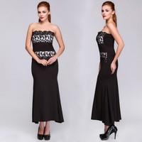 Stylish Lady's Strapless Floral Formal Elegant Ladies Korean Fashion Dress SV015003
