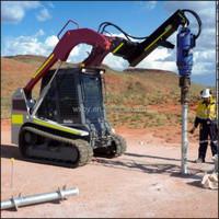 Solar ground helical screw pile driver screw piling machine