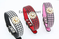 Leather Dog Collar With diamond flower , Various Size And Colour Available!!!