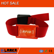 RFID factory custom Nylon spandex woven wristbands for events with RFID LF/HF/UHF frequency chip inside, strong quality