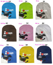 size 19*19 Can be customized colors 2015 new cartoon sheep unique kid hat i love papa mama cap for baby HT15005