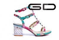 Pump heel rainbow sandal shoes for womens