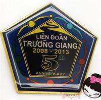 Anniversary lapel pin badge convex polygon Number 5 custom lapel pin badge