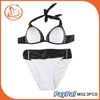 2015 Women Push Up High Waist Swimsuit Cut Out Swimwear Bandage Strappy Bikinis Set Top Bottom Biquini