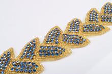 2015 crystal rhinestone bridal sash belt wedding accessories blue and gold
