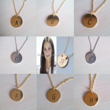 letter engraved round plate pendant necklace with logo