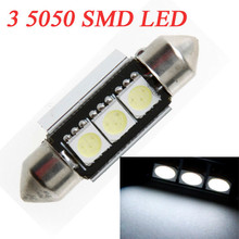 10Pcs/lot Car Interior Led Car Dome Light Lamp Festoon White Bulb 37mm 3 5050 SMD LED Auto Festoon LED Licence Plate Dome Roof