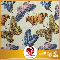 Yarn dyed polyester cotton sofa jacquard butterfly upholstery fabric