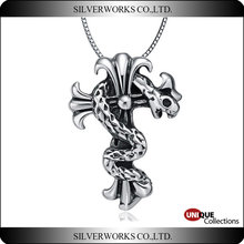 Antique Thai silver charms wholesale Evil snake 925 sterling silver pendant