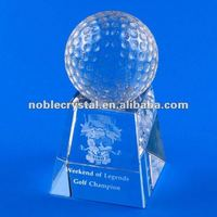 Noble Crystal Golf Award Trophy on Base