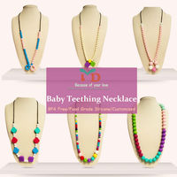 Natural Siolicone teething necklace/wood teething neckalce