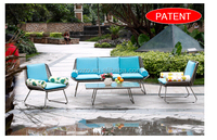 Outdoor three seater sofa and table set, stainless steel wicker sofa furniture