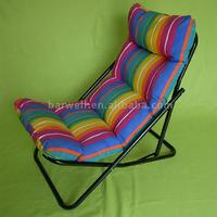 Steel garden camping leisure chair with cushion