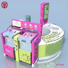 Unique 3d Max Design Mall Indoor Ice Cream Vending Kiosk With Topping Machines For Sale