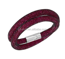 double wrapped round multi color available crystals stardust mesh bracelet with magnetic clasp