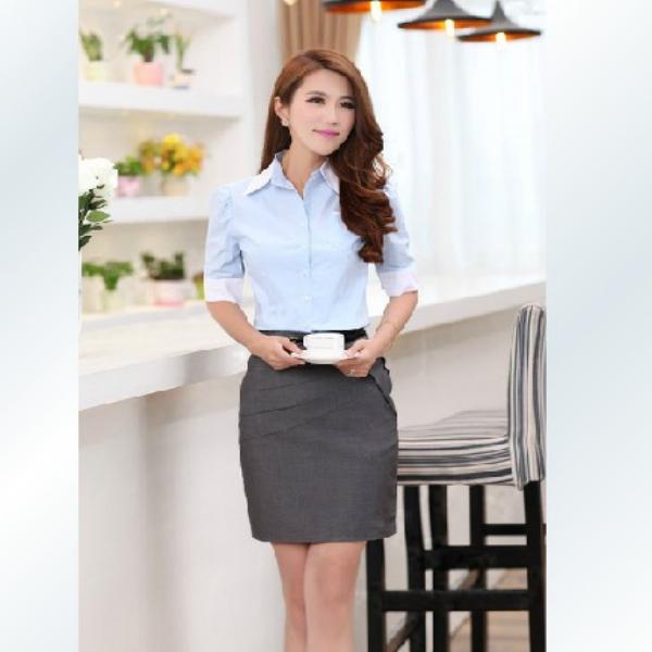 nuevo diseño de moda blusas para uniformes de oficina-Mujeres ...