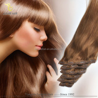2015 Alibaba Golden Suppliers New Design Remy Top Quality Private Label russian perm clip in hair