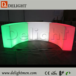 China supplier RGB color changing outdoor illuminated plastic mobile led golf club counter table design for wedding
