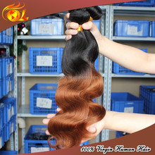 Wholesale colored extension three tone two tone ombre hair weaves sew in human hair weave ombre hair