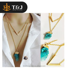 2015 fashion Style Multi Layer necklaces Hot V shape Imitated Bar Natural Stone Double necklaces Chain new gold chain design