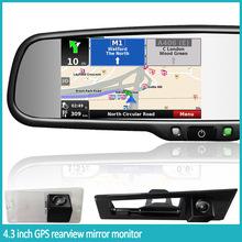 4.3 pulgadas espejo retrovisor con manos libres Bluetooth, navegación y pantalla táctil
