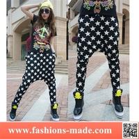 Girls Hot Black Star Crotch Pants