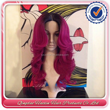 Stock Top Fashion Wavy 100% Human Hair 24 Inch Brazilian Hair Pink Ombre Wig